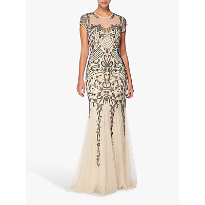 Raishma Fishtail Tulle Gown, Nude