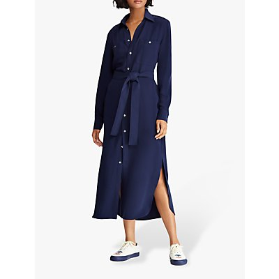 Polo Ralph Lauren Crepe Shirt Dress, Cruise Navy