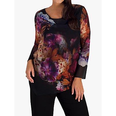 Chesca Floral Print Chiffon Top, Black/Multi