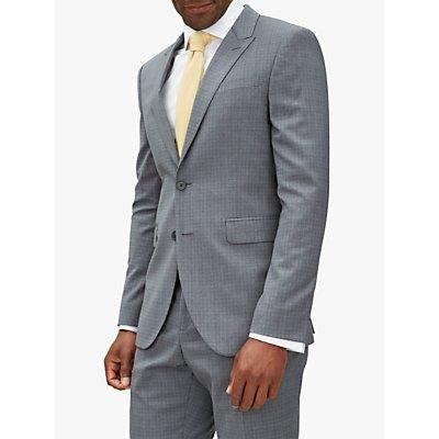 Jaeger Fine Overcheck Slim Fit Suit Jacket, Grey