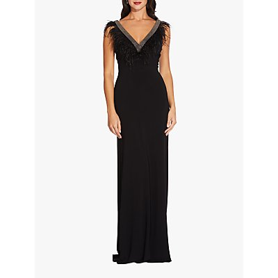 Adrianna Papell Long Feather Jersey Dress, Black