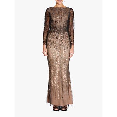 Adrianna Papell Beaded Gradient Dress, Black/Gold