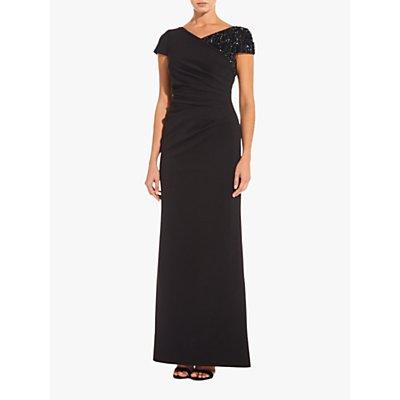 Adrianna Papell Long Ottoman Dress, Black
