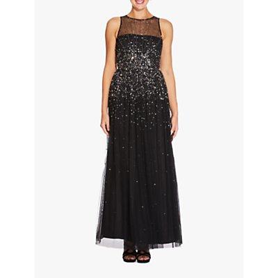 Adrianna Papell Beaded Maxi Dress, Black/Mercury