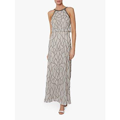 Gina Bacconi Zalenta Beaded Maxi Dress, Silver