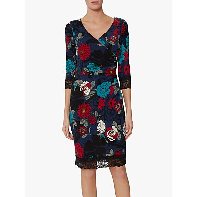 Gina Bacconi Kiri Floral Print Dress, Navy