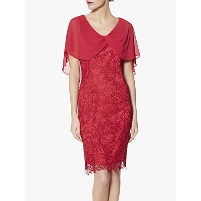 Gina Bacconi Elwyn Floral Embroidery Dress, Rose Red