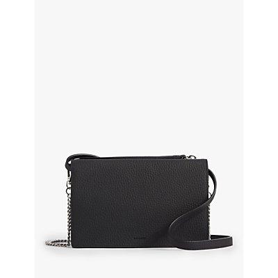 AllSaints Fetch Wallet Leather Cross Body Bag, Black