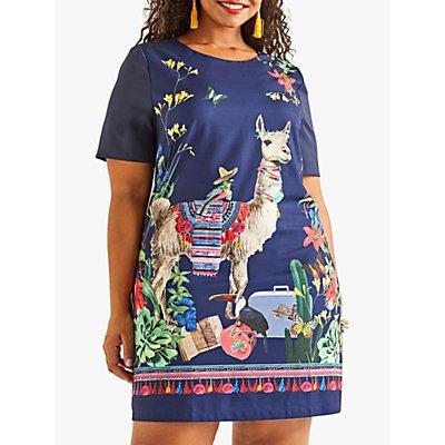 Yumi Curves Llama Tunic Dress, Navy