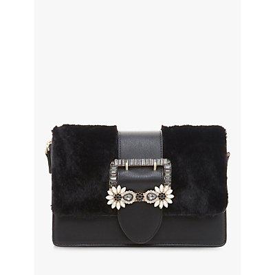 Dune Efiee Faux Fur Jewel Trim Bag, Black