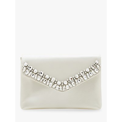 Dune Bchapel Satin Embellished Clutch Bag, Ivory