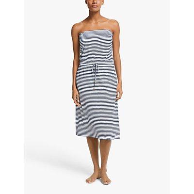 John Lewis & Partners Fine Stripe Bandeau Midi Jersey Dress, Navy/White
