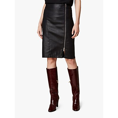 Karen Millen Coated High Waist Skirt, Black