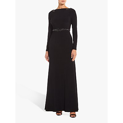 Adrianna Papell Long Embellished Jersey Dress, Black