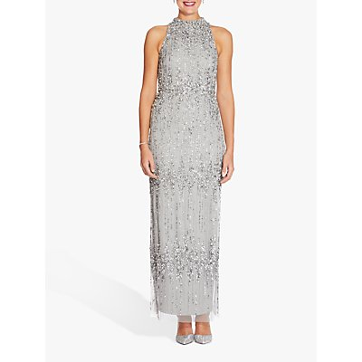 Adrianna Papell Beaded Halterneck Dress, Blue Mist