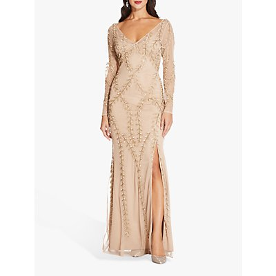 Adrianna Papell Long Sleeve Beaded Dress, Champagne/Gold