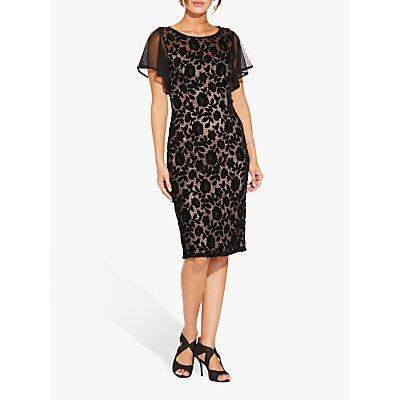 Adrianna Papell Floral Velvet Dress, Black/Rose Gold