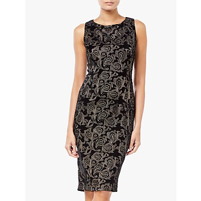 Adrianna Papell Embroidered Sheath Dress, Black/Champagne