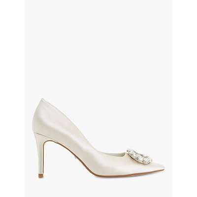 Dune Bridal Collection Adorne Brooch Court Shoes, Ivory Satin