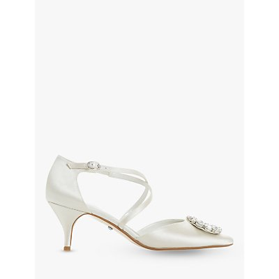 Dune Crushing Bridal Collection Embellished Kitten Heel Court Shoes, Ivory Satin