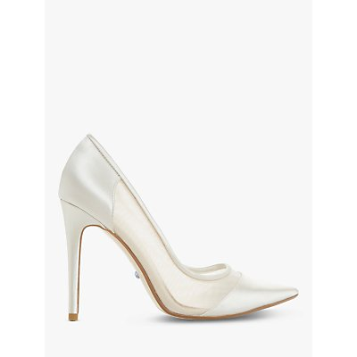 Dune Bridal Collection Bride to Be Mesh Panel Court Shoes, Ivory Satin