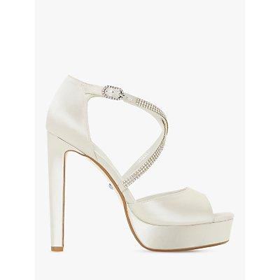 Dune Makeup Bridal Collection High Heel Platform Sandals, Ivory Satin