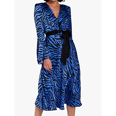Ghost Annabelle Zebra Print Satin Dress, Cobalt/Black