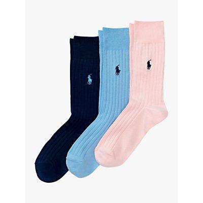 Ralph Lauren Plain Ribbed Socks, Pack of 3, Pink/Blue