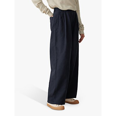 Toast Cotton Linen Wide Leg Trousers, Slate