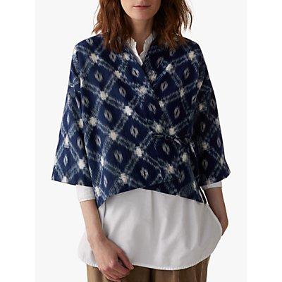 Toast Bold Ikat Kimono Wrap, Blue/Ecru