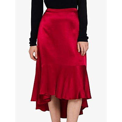 Ghost Fifi Satin Skirt, Chilli Pepper