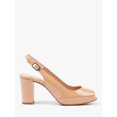 Unisa Nick Slingback Peep Toe Court Shoes, Beige Patent Leather