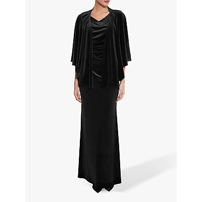 Gina Bacconi Adalyn Velvet Cape, Black