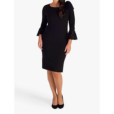 Chesca Sequin Lace Bow Trim Crepe Dress, Black