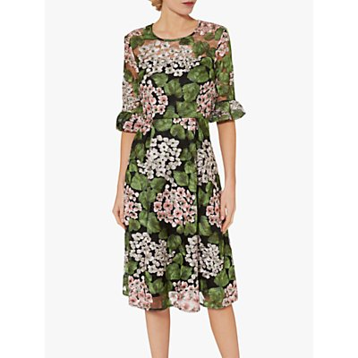Gina Bacconi Orietta Botanical Embroidery Dress, Green/White Floral
