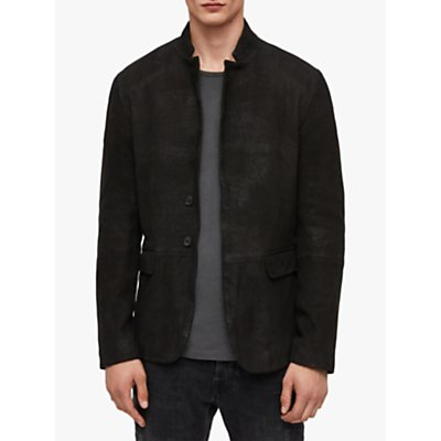 AllSaints Brenton Matte Leather Blazer, Black