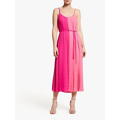 John Lewis & Partners Two Tone Pleated Cami Midi Dress