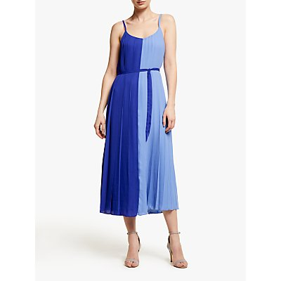 John Lewis & Partners Two Tone Pleated Cami Midi Dress