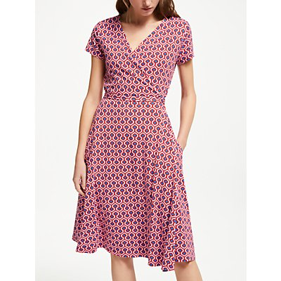 Weekend MaxMara Printed Jersey Wrap Dress, Cornflower Blue/Red