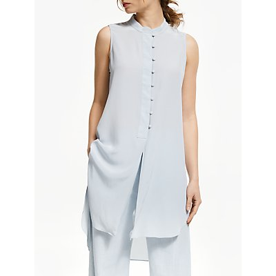 Modern Rarity Sleeveless Silk Blouse, Blue