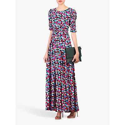 Jolie Moi Geometric Diamond Print Ruched Sleeve Maxi Dress, Pink/Multi
