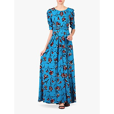 Jolie Moi Floral Print Ruched Sleeve Maxi Dress, Blue