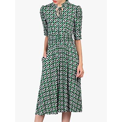 Jolie Moi Geometric Print Tie Collar Dress, Green