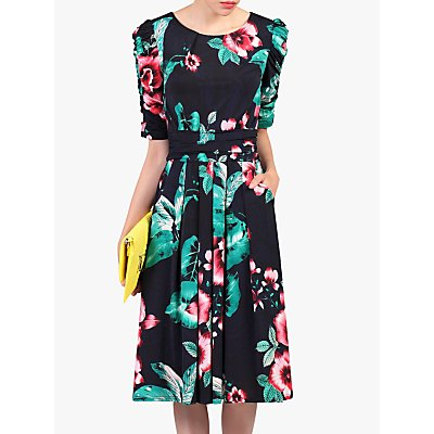 Jolie Moi Floral Half Sleeve Dress, Navy