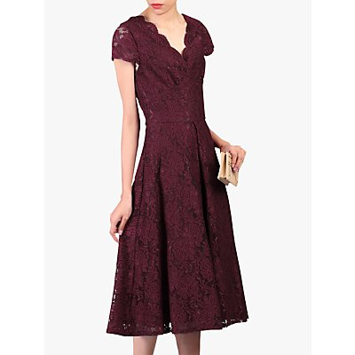 Jolie Moi Cap Sleeve Lace Dress, Burgundy