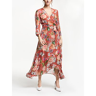 Marella Floral Print Wrap Dress, Terracotta