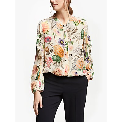 Marella Floral Silk Blouse, Wool White