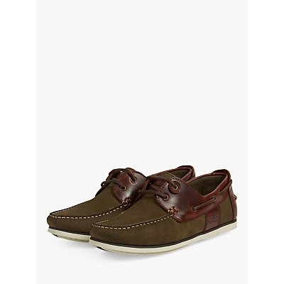 Barbour Capstan Leather Boat Shoes  Olive Mahogany - 192569254885