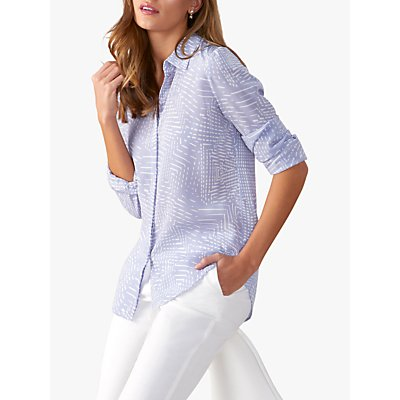 Pure Collection Washed Silk Blouse, Lilac Geo