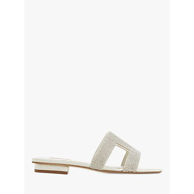 Dune Bridal Collection Novia Diamante Slide Sandals, Ivory Satin